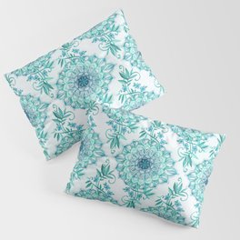 Mint and Teal Boho Nature Mandala Pillow Sham