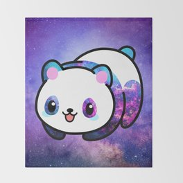 Kawaii Galactic Mighty Panda Throw Blanket