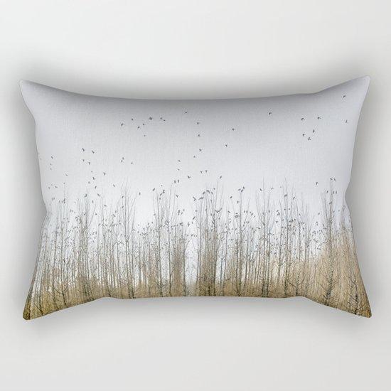 Wild Birds Flying. Foggy Sunrise Rectangular Pillow