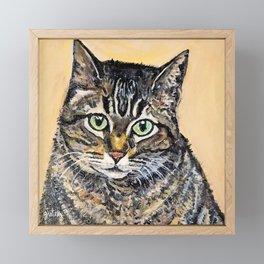 Tabby Cat Painting Framed Mini Art Print