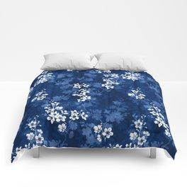 Sakura blossom in deep blue Comforters