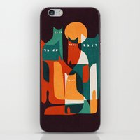 family iPhone & iPod Skins featuring Cat Family by Picomodi