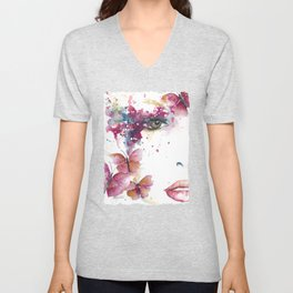 Girl with Purple Butterflies Unisex V-Neck