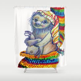 Sloth in a Sock Shower Curtain