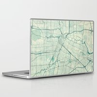 houston Laptop & iPad Skins featuring Houston Map Blue Vintage by City Art Posters