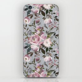 Blush blue pink coral green watercolor botanical roses iPhone Skin