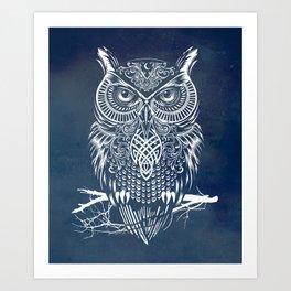 Warrior Owl Night Art Print