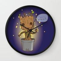 groot Wall Clocks featuring Groot by Lalu - Laura Vargas
