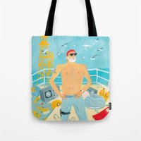 murray Tote Bags featuring Thrill Murray by Nicholas Stevenson