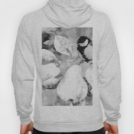 Chickadee on a Pear Tree Watercolor (Black and White) Hoody