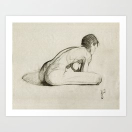 Female Nude Figure Charcoal Drawing Leaning Over Thinking Black and Beige Art Print