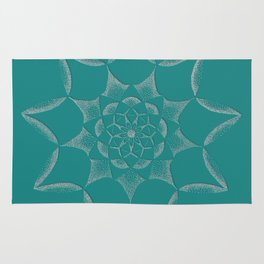 Dot Mandala Dark Green- 3D Pointilism Rug