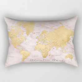 "Adventure awaits, gold and pink marble detailed world map, ""Sherry"" Rectangular Pillow"