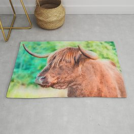 Highland cow watercolor painting #11 Rug