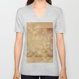 Many young spring leaves on blurred background Unisex V-Neck