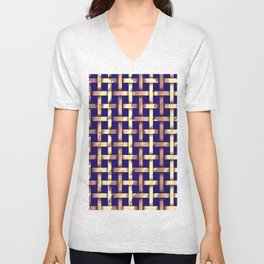 Brown weaved pattern Unisex V-Neck
