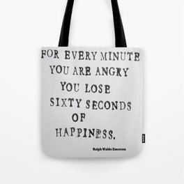 Happiness Ralph Waldo Emerson Quote Tote Bag