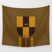 hufflepuff Wall Tapestries featuring hufflepuff crest by nisimalotse