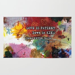 Love NEVER FAILS Scripture Bible Verse Abstract Art Painting by Michel Keck Rug