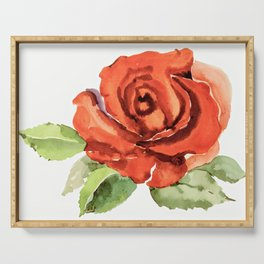Red Rose In Bloom, Watercolour Sketch Serving Tray