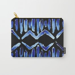 """Black and Blue Watercolor Pattern """"Zig Zag Stripes"""" Carry-All Pouch"""