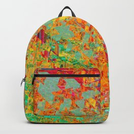 psychedelic fractal geometric triangle abstract pattern in orange yellow green blue red Backpack