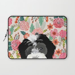 Bernedoodle floral pet portrait art print and dog gifts Laptop Sleeve
