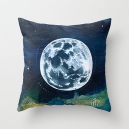 Full Moon Mixed Media Painting Throw Pillow