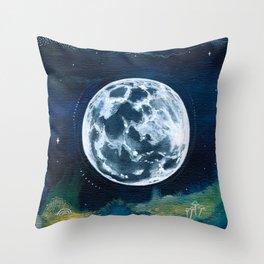 Full Moon Mixed Media Painting Throw Pillow