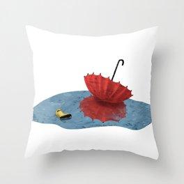 Umbrella and Friend Throw Pillow