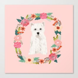 Westie floral wreath dog breed pure breed pet portrait Canvas Print