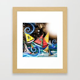 Night Sailing - Aurora Art Moonlight Stars Night Framed Art Print