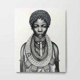 Trial Girl with Dreadlocks and Earring Metal Print