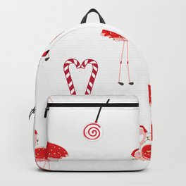 Red Flamingos With Candy. Happy New Year and Merry Christmas Backpack
