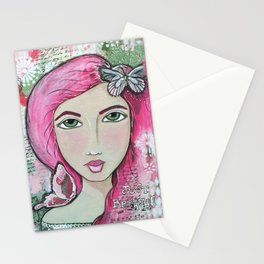 Just Breathe Mixed Media Girl Stationery Cards