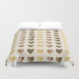 Gold and Chocolate Brown Hearts Duvet Cover