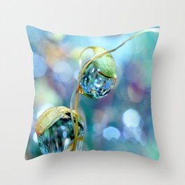 Rainbow Moss Drops Throw Pillow