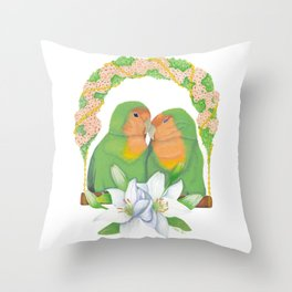 The lovebirds Song of Love Throw Pillow
