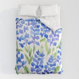 Watercolor Texas bluebonnets Duvet Cover