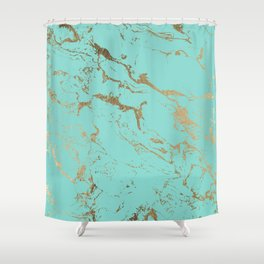 Modern teal gold marble pattern Shower Curtain