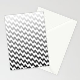 Black And White Fade Ombre Shaded Wavy Wave ZigZag Stripe Stationery Cards