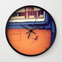 puerto rico Wall Clocks featuring Lizard in Puerto Rico by ANoelleJay