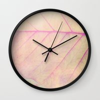 Pink Leaf Abstract Wall Clock