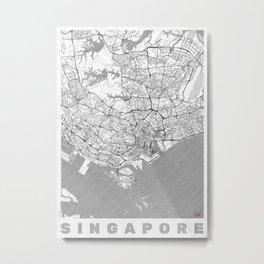 Singapore Map Line Metal Print