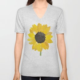 Watercolor Sunflower Unisex V-Neck