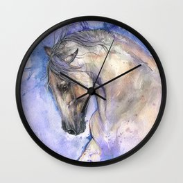 Horse on purple background Wall Clock