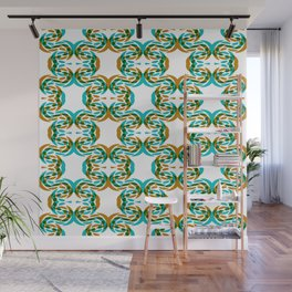 Green Aqua Gold Faux Lace Pattern On White Wall Mural