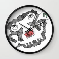 pie Wall Clocks featuring Pie! by DoodledPanda