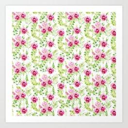Watercolor Flower and leaf design, Floral pattern, nature art watercolor art beautiful floral design Art Print