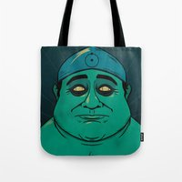 watchmen Tote Bags featuring It's Always Sunny in Watchmen - Frank by Jessica On Paper